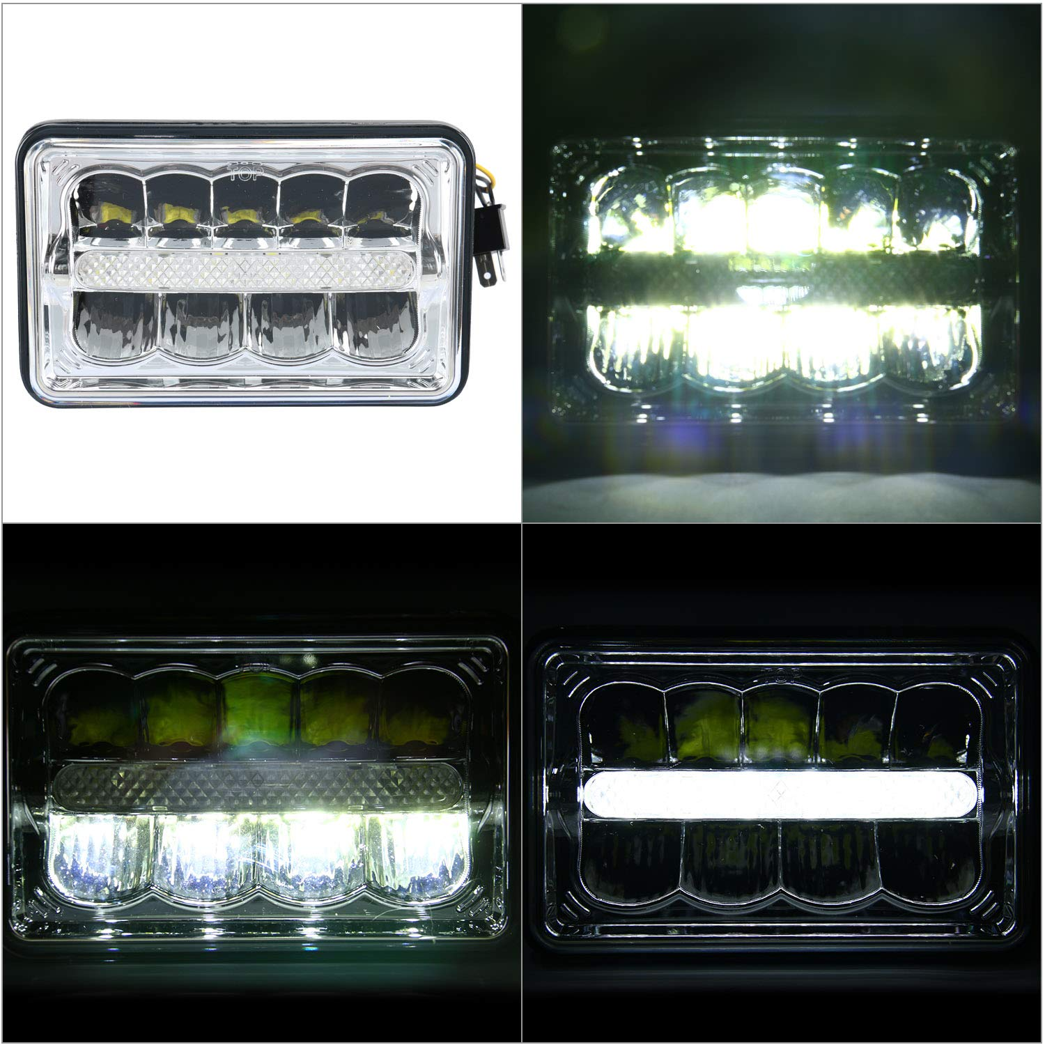 4Pcs Square 4X6 Inch LED Headlights Replacement High//Low Beam With Parking Light Replace Compatible with GMC Ford Trucks HID Xenon H4651 H4652 H4656 H4666 H6545 Yae First Trading Co Itd