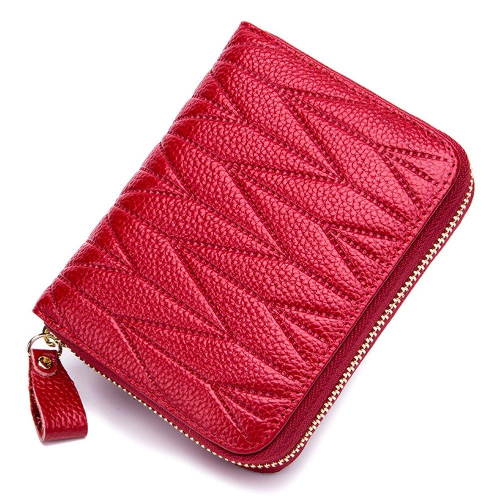 imeetu Women/men RFID Blocking Leather Credit Card Holder case Accordion Wallet 24 Slots Purses with Zipper Pocket(Wine Red) by imeetu (Image #2)