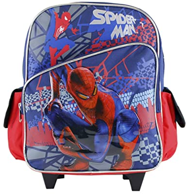 12' Spiderman slanted front pocket navy and red theme rolling Backpack