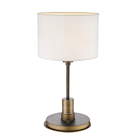 Dimmable Table Lamp, LMS Modern Contemporary Nightstand Lights Brass Base  and Fabric Lamp Shade for Bedroom 19\