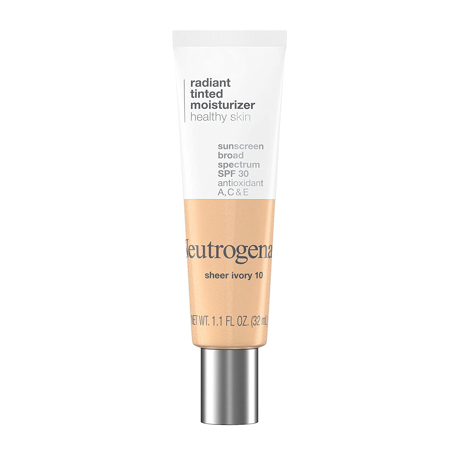 Neutrogena Healthy Skin Radiant Tinted Facial Moisturizer with Broad Spectrum SPF 30 Sunscreen Vitamins A, C, & E, Lightweight, Sheer, & Oil-Free Coverage, Sheer Ivory 10, 1.1 fl. oz