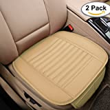 Car Seat Cushion, 2PC Breathable Car Interior Seat Cover Cushion Pad Mat for Auto Supplies Office Chair with PU Leather Bamboo Charcoal (Beige)