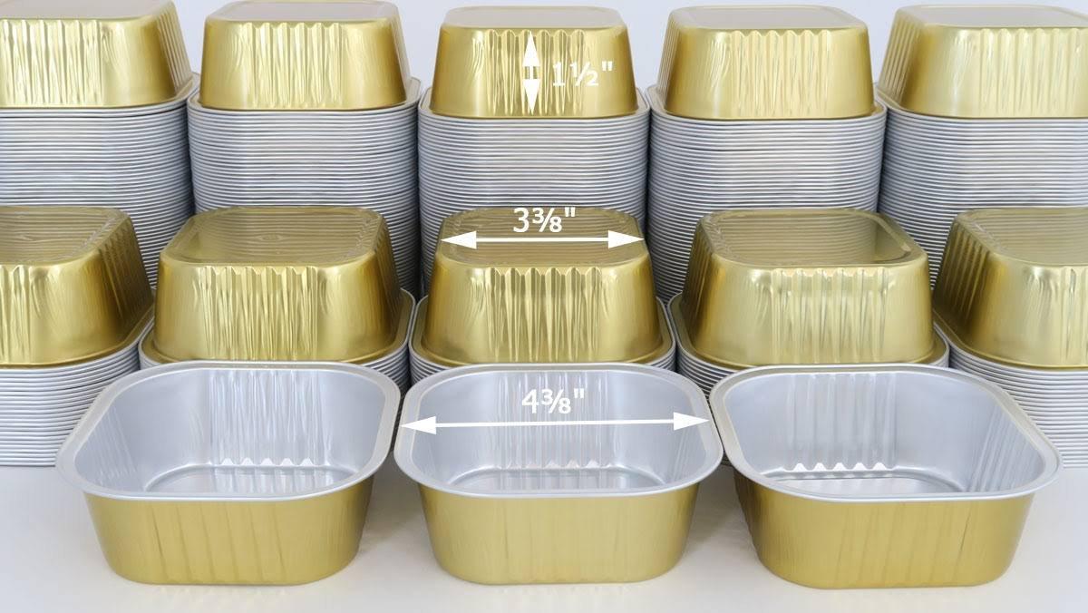 KitchenDance Disposable Aluminum 4'' x 4'' Square Cake Pans W/Lids - #A-24 (100, Gold)