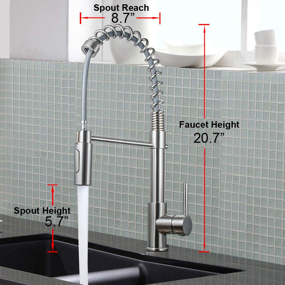 Moone Commercial Modern Single Handle Spring High Arc Brushed Nickel Kitchen Faucet, Pull Out Sprayer Kitchen Faucets Pull Down Spray Brass and Stainless Steel Kitchen Sink Faucet with Deck Plate by Moone (Image #6)