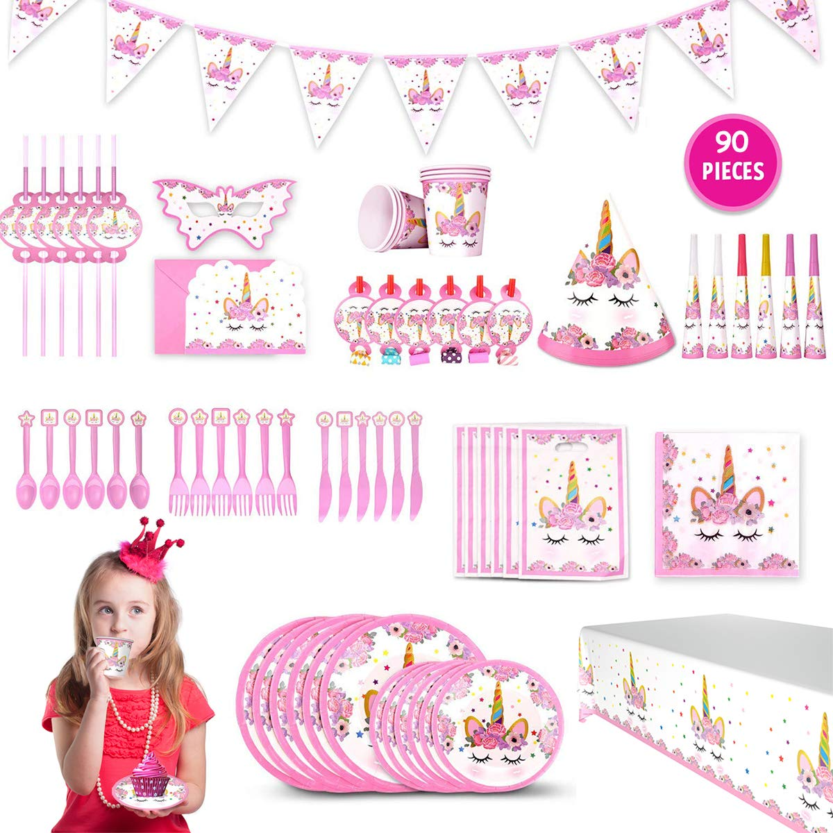 Gifts For 3 12 Year Old Girls JoyJam Unicorn Party Supplies 16 Varieties Birthday Decorations Favors Tableware Pink Plates