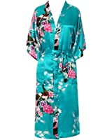 FAYBOX BRIDAL Womens Robes Peacock and Blossoms Kimono Satin Nightwear Long Style