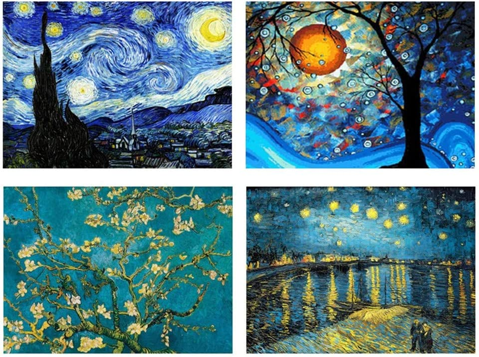 Amazon.com: 4 Packs 5D DIY Diamond Painting Set Full Drill Diamond Painting  Starry Night Wall Stickers for Living Room(40X30CM/16X12inch)
