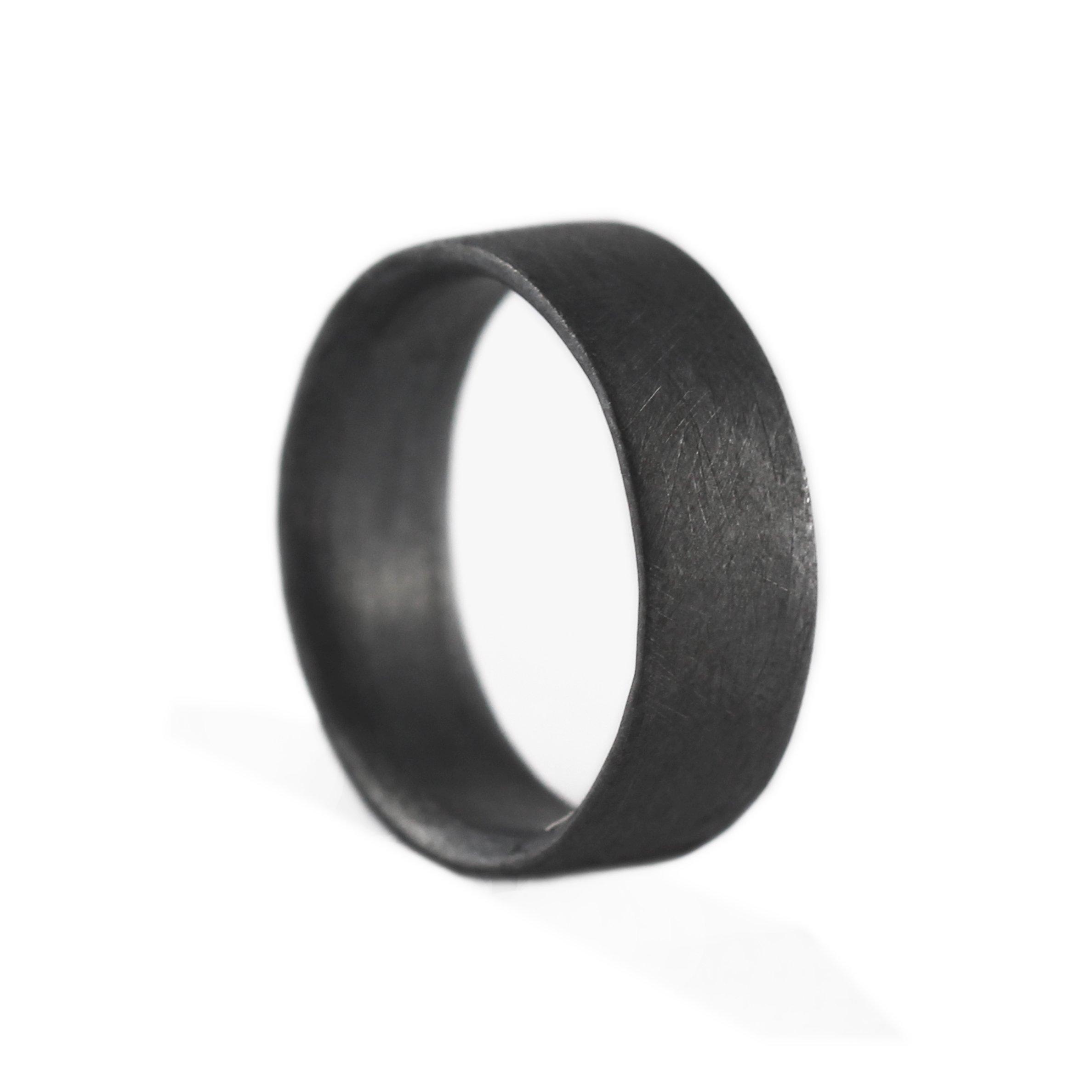 Carpe Diem Jewellery Mens Wedding Band Ring Black Sterling Silver Custom Engraved