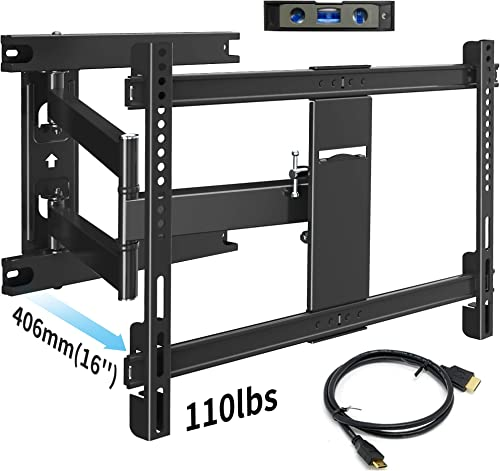 Everstone TV Wall Mount Bracket Full Motion for Most 32-70 inch TVs up to 110 Lbs VESA 600x400mm with Articulating Arms Extend 16 , Swivel 180 , Tilt 15 and 3 Level Adjust,Fits up to 16 Studs