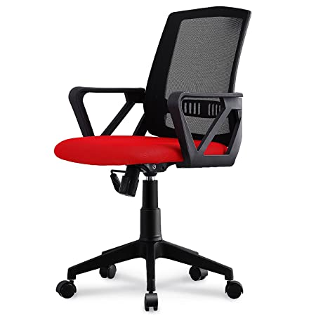 Neo Chair Managerial Office Chair Conference Room Chair Desk Task Computer Mesh Home Chair w Armrest Ergonomic Lumbar Support Swivel Adjustable Tilt Mid Back Wheel, Tourbillon Castle Red Black