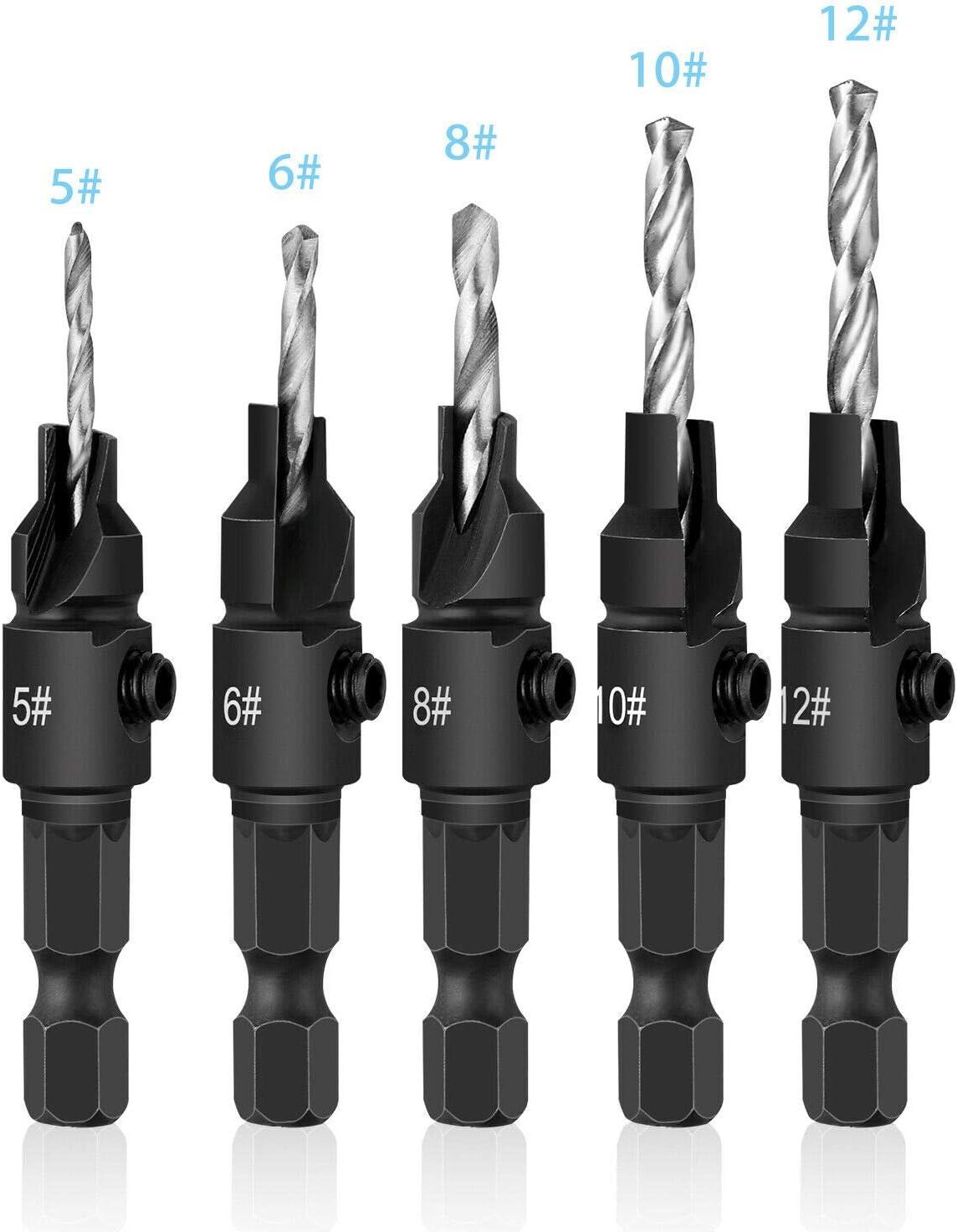TJP 5PCS HSS Countersink Drill Bit Set Screw Woodworking Chamfer Tool Quick Change