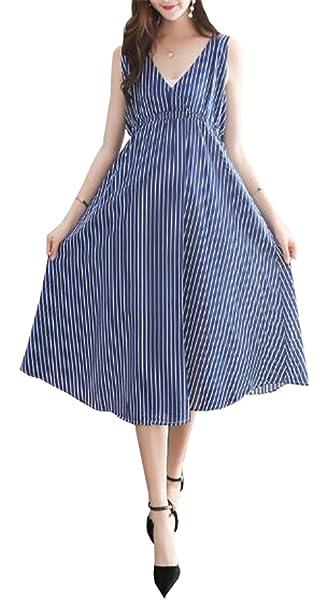 Tayaho Vestido Para Embarazadas Mujer Vestido En Capas Lactancia Senora Vestidos De Verano Cuello V Mujeres Dress A Rayas Clasicos Vestido Largo Sin Mangas: ...