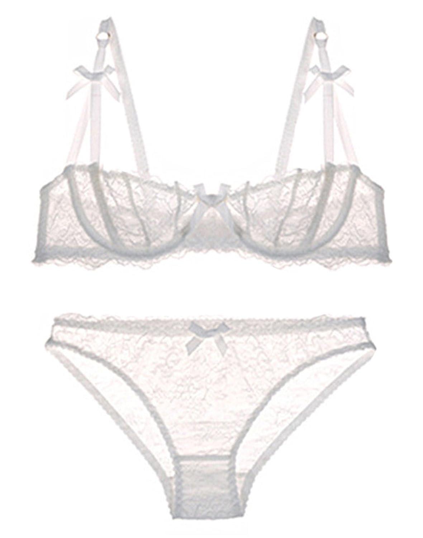 e8dd03ee5 Amazon.com  Ultrathin lingerie set plus size bras A B C Cup sexy lace bra  set transparent women underwear black embroidery Bow White 70D  Clothing