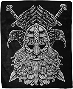 rouihot 60x80 Inches Flannel Throw Blanket Norse God Odin with Crows and Swords Viking Warrior Engraving Style on The Black Home Decorative Warm Cozy Soft Blanket for Couch Sofa Bed