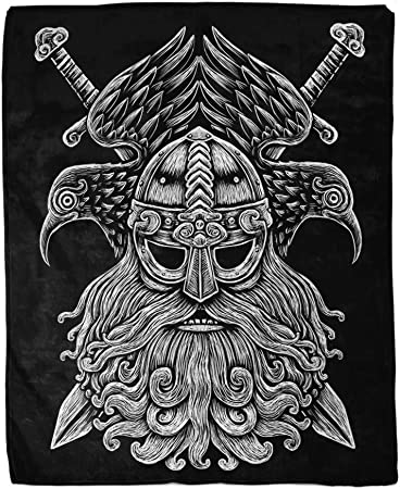Super Soft All Seasons Suitable White 40x59 inch Nchjjo Viking Odin Throw Blanket Ceiling Decor Travel Easy to Hang