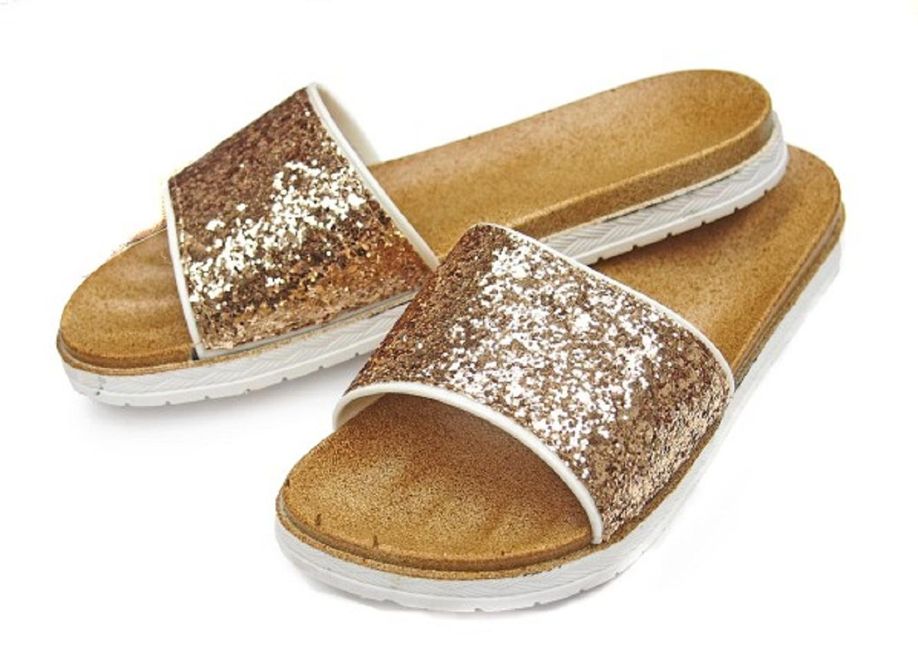 DINY Home & Style Ladies Women's Glitter Faux Leather Slide Sandals (11, Gold)