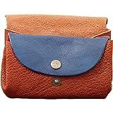LE GUSTAVE Bicolore Naturel/Bleu porte-monnaie en cuir souple avec bouton pression et nombreux rangements PAUL MARIUS