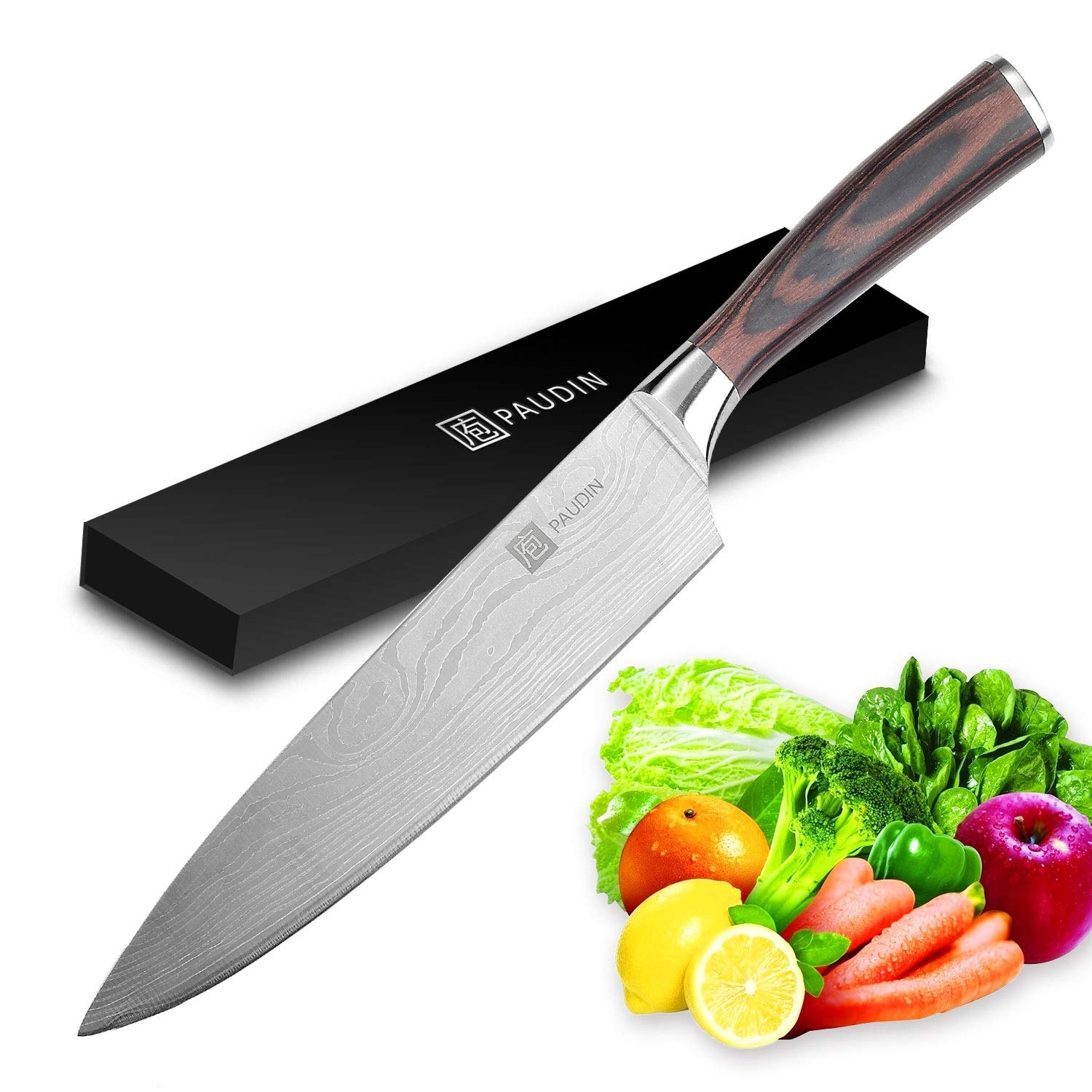 Chef Knife - PAUDIN Pro Kitchen Knife 8 Inch Chef's Knife N1 German High Carbon Stainless Steel Knife with Ergonomic Handle, Ultra Sharp, Best Choice for Home Kitchen & Restaurant by PAUDIN