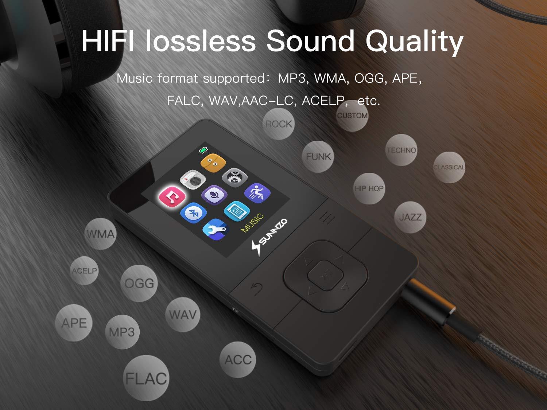 16GB, Blanco SUNNZO X16 Reproductor MP3 de Bluetooth 4.2 de 16GB,con una reproducci/ón por 50 Horas,Radio FM,Grabador y Pod/ómetro,Auricular,Cable AUX y Brazalete incluidos
