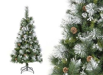 rbol de navidad artificial verde nevado con copos de nieve blancos y piones de pino - Arbol Navidad Artificial