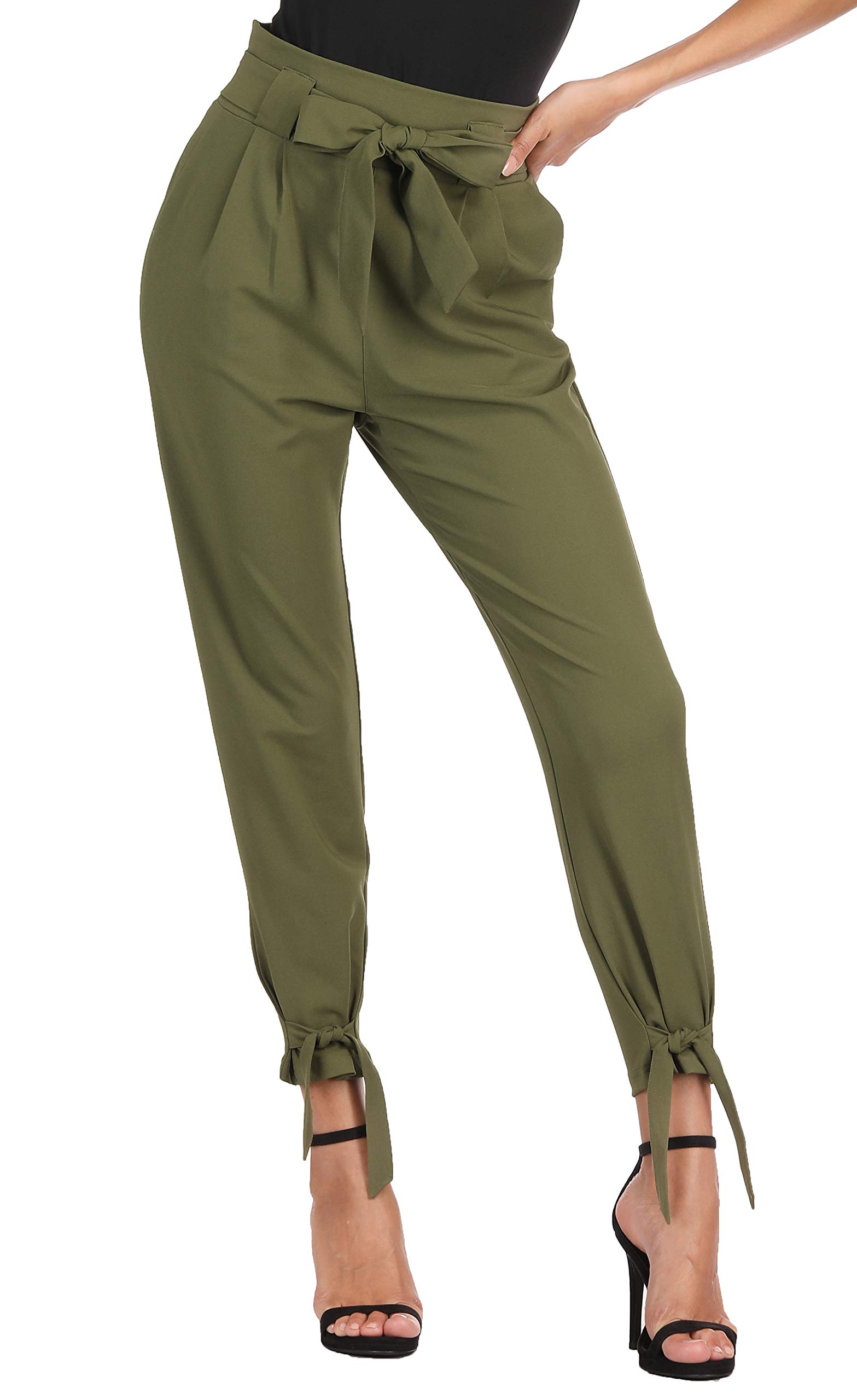 GRACE KARIN Women Casual Pleated High Waist Belted Bow Ties Paper Bags Pants M, Cl903 Style-army Green by GRACE KARIN