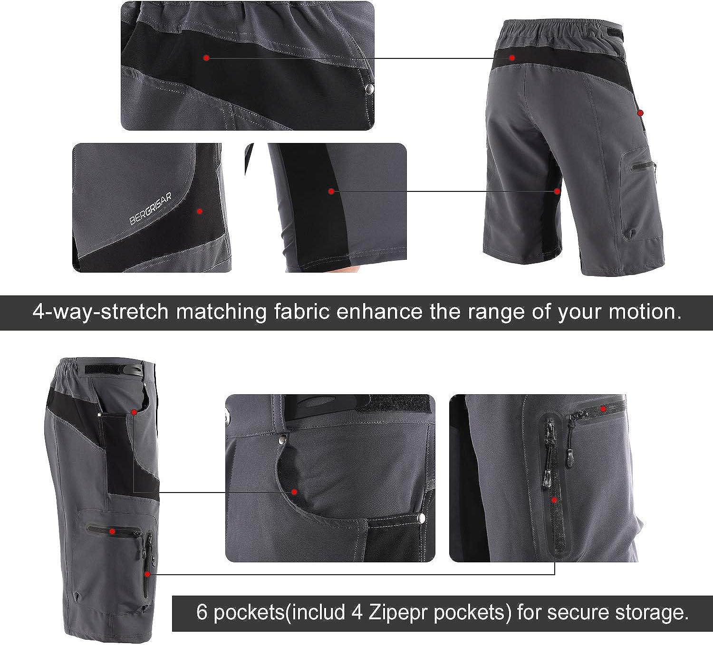 BERGRISAR Men's Cycling Shorts MTB Mountain Bike Bicycle Shorts Zipper Pockets 1806BG: Clothing