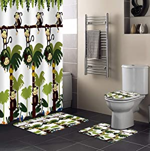 Prime Leader 4 Pcs Shower Curtain Sets with Non-Slip Rugs, Toilet Lid Cover, Bath Mat Cartoon Monkey on The Banana Trees Bathroom Decor Shower Curtain with 12 Hooks Waterproof Polyester Fabric