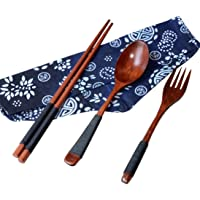FORESTIME Japanese Wooden Chopsticks Spoon Fork Tableware 3pcs Set New Gift (brown, one)