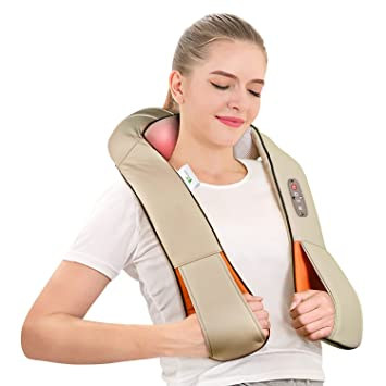 AMZDEAL Neck Shoulder Massage Kneading Electric Shiatsu Massager ...