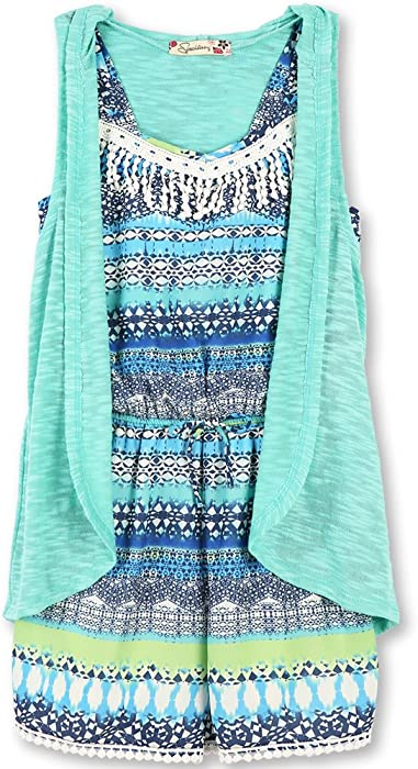 ea4472679cd0 Speechless Girls' Big 2 Piece Printed Chiffon Romper with Cozy Vest, Blue  Lime,