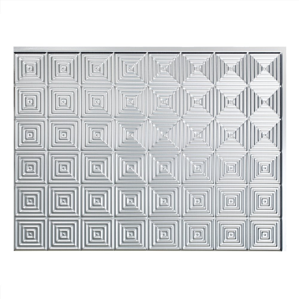 Fasade Easy Installation Miniquattro Brushed Aluminum Backsplash Panel for Kitchen and Bathrooms (18 sq ft Kit) by Fasade
