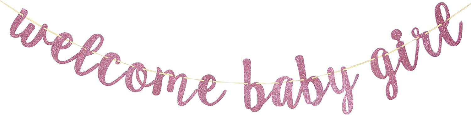 Welcome Baby Girl Banner Pink Glitter A Little Princess Baby Shower Gender Reveal Pregnant AF Baby 1st 2nd Birthday Party Decorations Party Supplies
