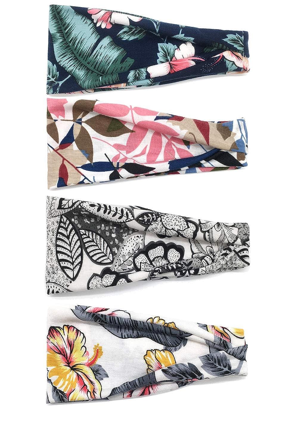 DRESHOW 4 Pack 1950 fasce del fiore depoca per le donne torsione elastica turbante fascia capo Involucri svegli dei capelli fascia degli accessori