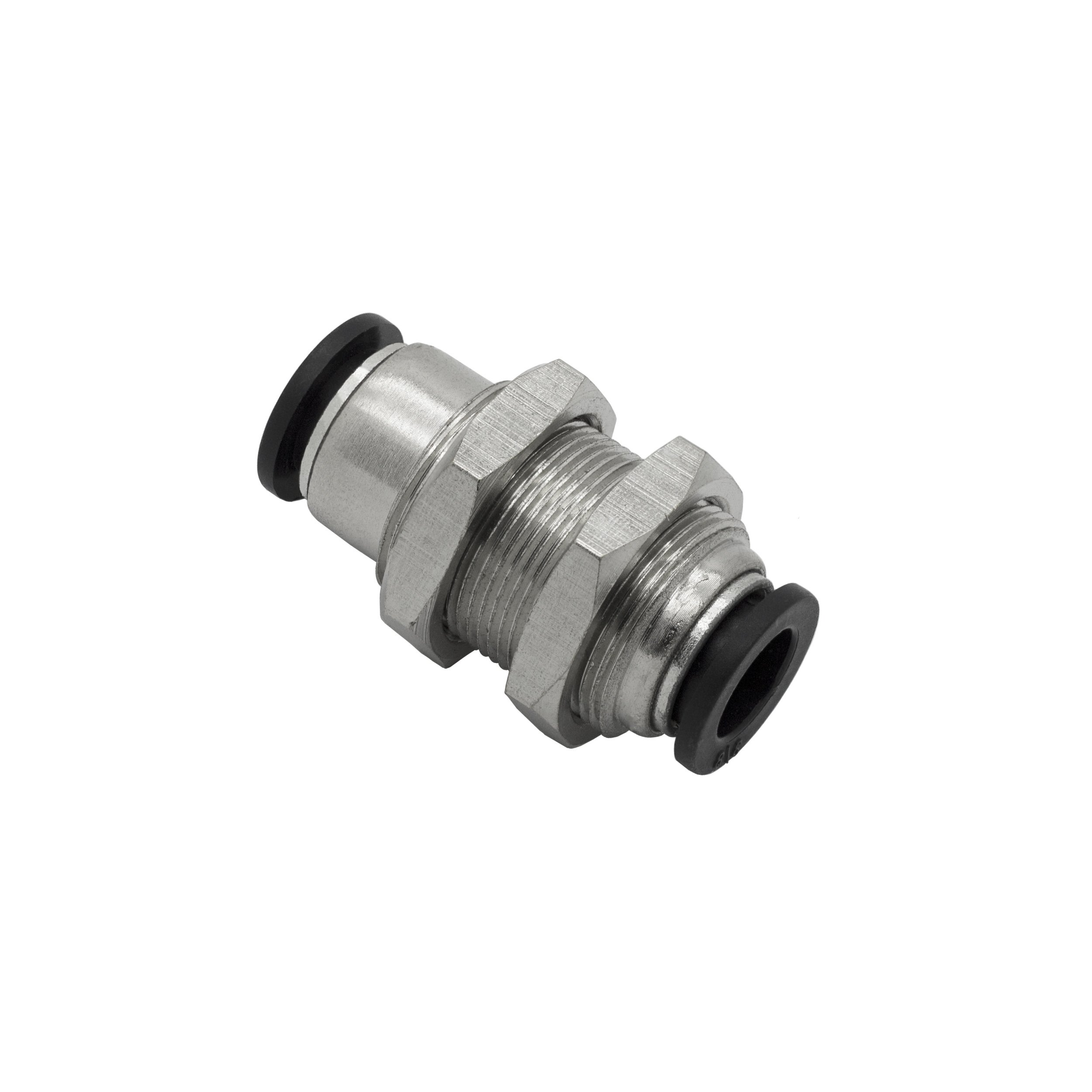 PneumaticPlus PMM-3/8 Push to Connect Tube Fitting, Bulkhead Union - 3/8'' Tube OD x 3/8'' Tube OD (10 per pack)