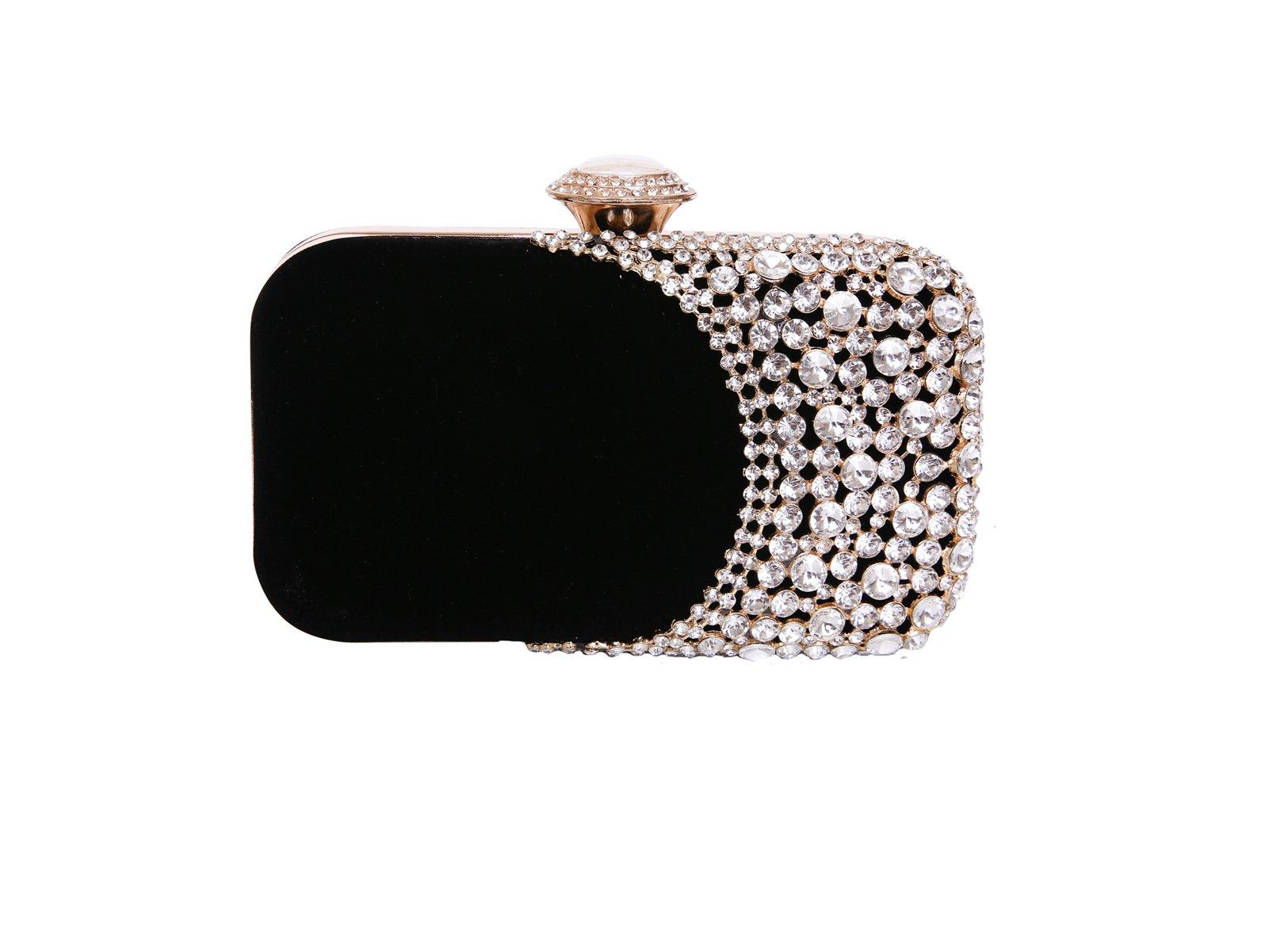 Womens Rhinestone Evening Bag Bridal Clutch Purse Wedding Party Cocktail Handbag (Black)