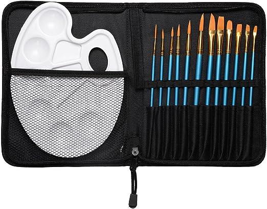 CONDA Artista conjunto de pintura con estuche paleta y 12 pinceles para acuarela pintura acrílica u oleo: Amazon.es: Hogar