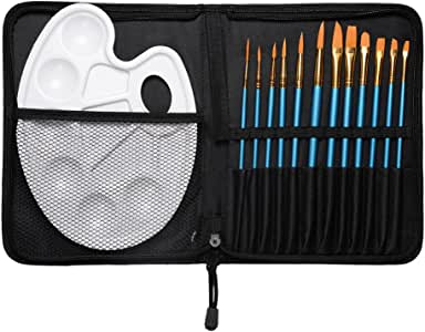 conda Artist 12 Pcs Paint Brush Set and Palette with 12 Brushes & Carrying Case for Watercolor Oil Acrylic Painting