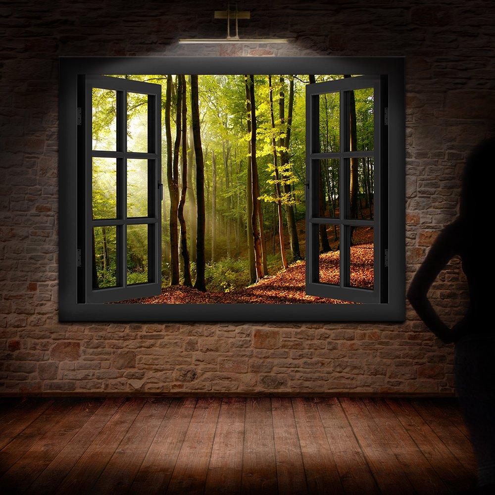 BOIKAL XXL186-6 Fensterblick Leinwand bild 3D Illusion - - - FERTIG GERAHMTE BILDER Kein POSTER     Wandbild 120 x 100 cm Weiß   Farbe - Große 21 Variante wählbar   Fenster Kunstdruck Landschaft Sonnenuntergang Wald, Bäume 1d259d