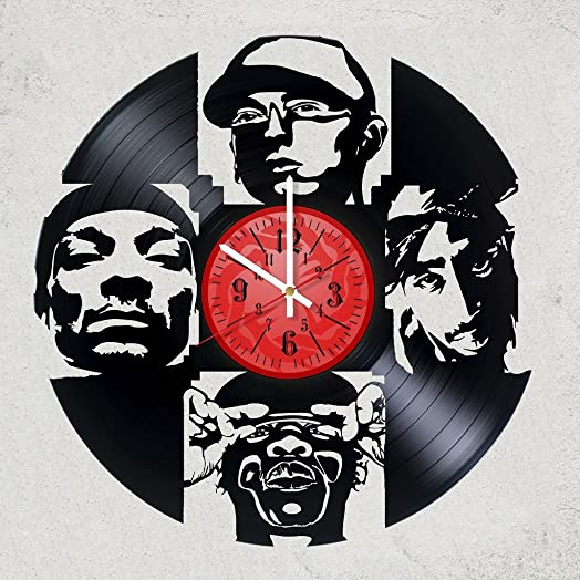 EMINEM JAY Z SNOOP DOG 2PAC Vinyl Record Wall Clock – Get unique Garage wall decor – BLACK – Gift ideas for friends, teens RAP MUSIC Unique Modern Art