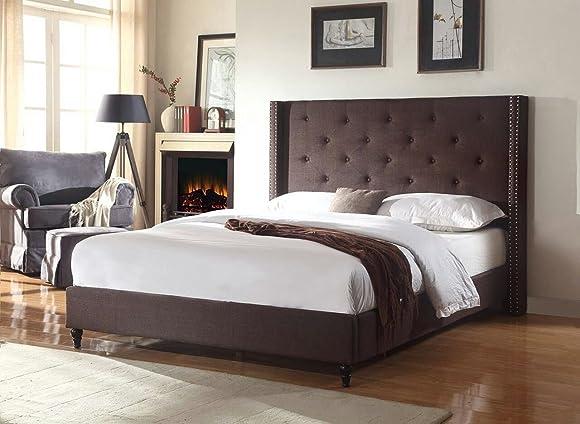 "Home Life Premiere Classics Cloth Brown Linen 51"" Tall Headboard Platform Bed"