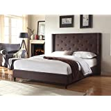 """Home Life Premiere Classics Cloth Brown Linen 51"""" Tall Headboard Platform Bed with Slats King - Complete Bed 5 Year Warranty"""