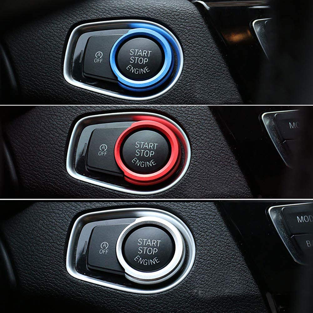 4 3GT X1-Serie Blau Metallautokreis f/ür BMW 1//2//3 ZqiroLt Ein-Schl/üssel-Startknopf-Dekor-Ring