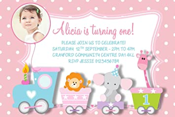 personalised girls 1st birthday party invitations x10 amazon co uk