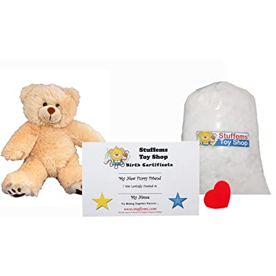 Make Your Own Stuffed Animal Mini 8 Inch Furry Brown Teddy Bear Kit - No Sewing Required!: Toys & Games