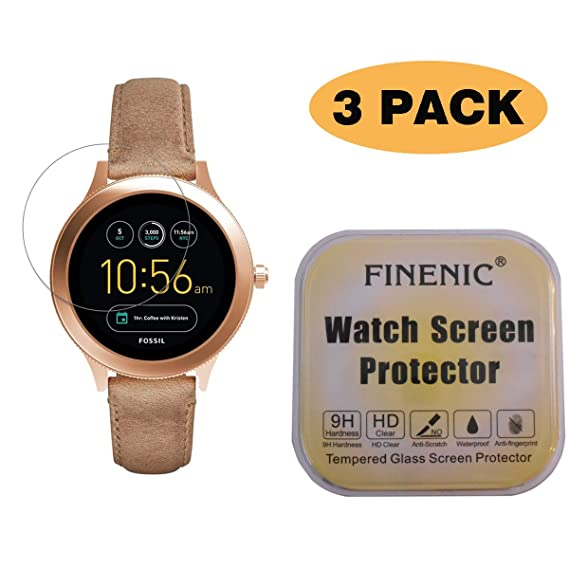 FINENIC [3 Pack] Screen Protector for Fossil Q Venture Gen 3 Smartwatch. [ 9H Tempered Glass] [No White Edge][Easy-Install] …