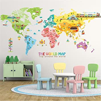 Amazon stazsx colorful world map wall stickers wall stazsx colorful world map wall stickers wall decoration living room bedroom childrens room diy home wall gumiabroncs Image collections