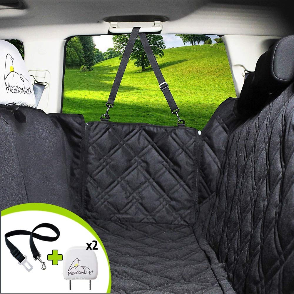 Meadowlark Dog Seat Covers Unique Design & Entire Car Protection-Doors,Headrests & Backseat. Extra Durable Zippered Side Flap, Waterproof Pet Seat Cover + Seat Belt & 2 Headrest Protectors as a Gift by Meadowlark