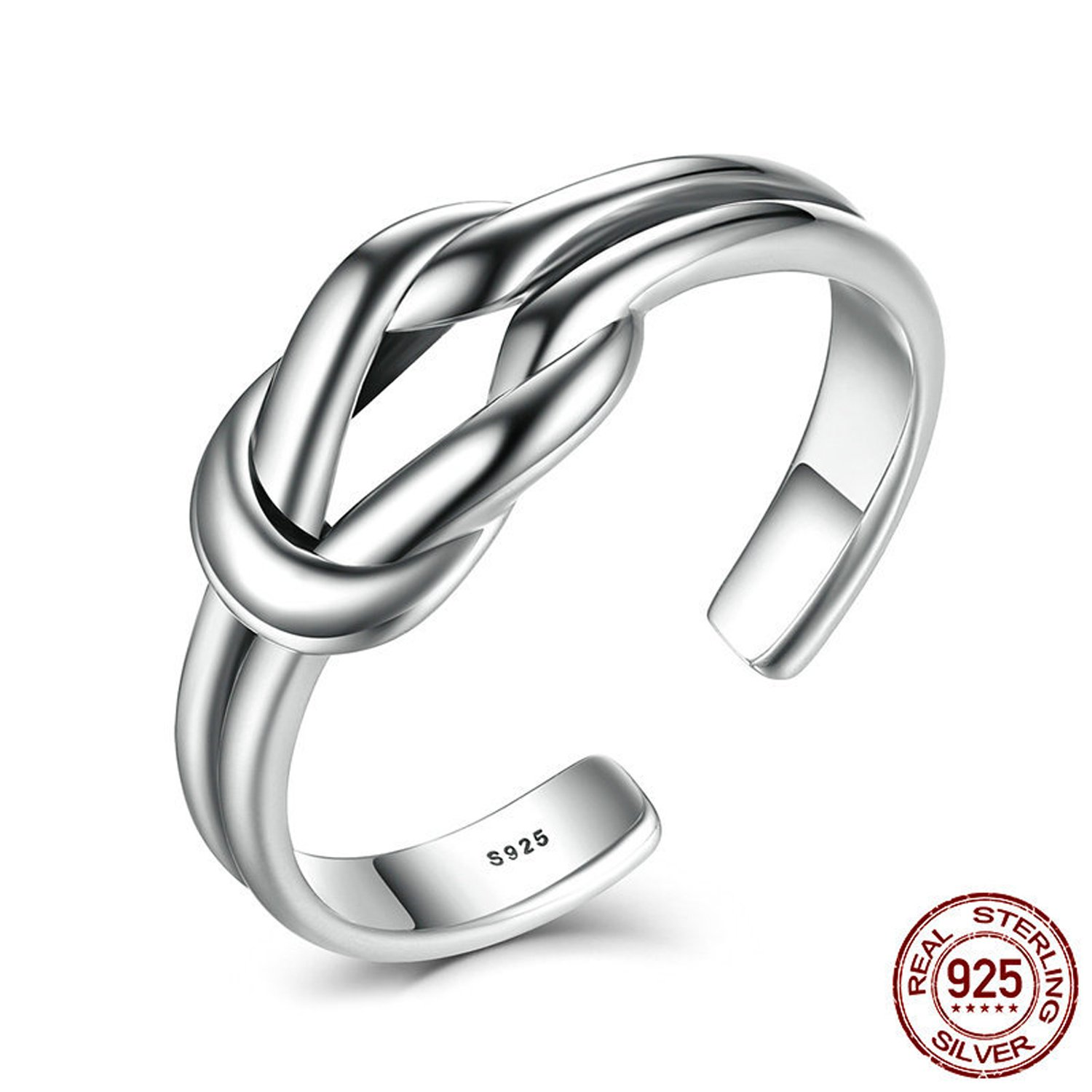 XingYue Jewelry 925 Sterling Silver Infinity Love Knot Ring Expandable Enternity Wedding Open Rings Girls Women Jewelry