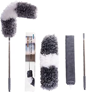 Microfiber Dust Collector, Retractable and Flexible Dust Collector, with Extension Rod (13-98 inches), Used for Ceilings, Beams, Ceiling Fans, Blinds, Furniture, Cars.