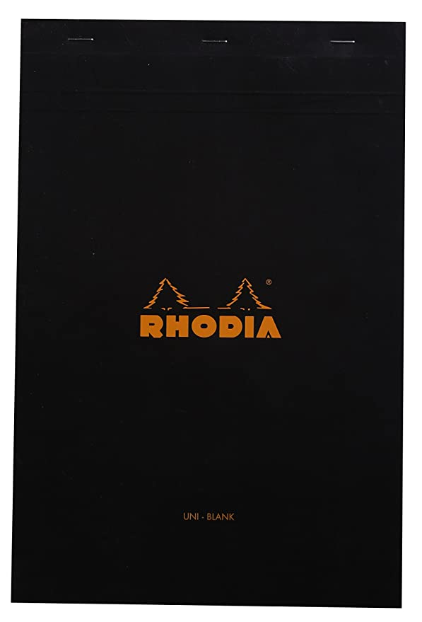 Rhodia Classic Black Notepad 8.25x12.5 Blank (80 Sheets)